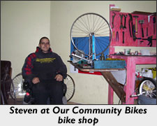 Steven at Our Community Bikes bike shop